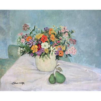 """Clairette Petrucci-Wolfers. (1899-1994). """" Bouquet champêtre"""". Vers 1930."""