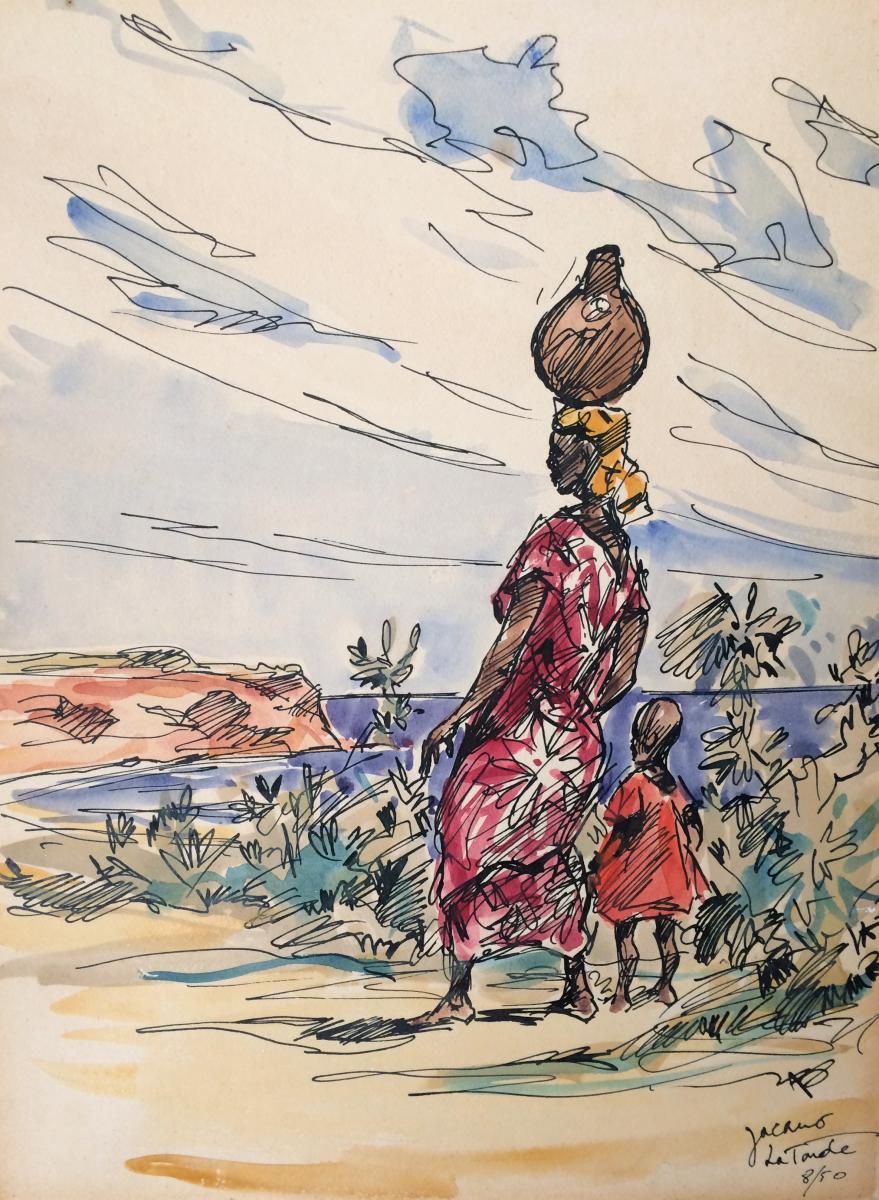 Africanism. Jacano. 1950. Beach Of The Tonde. Congo.