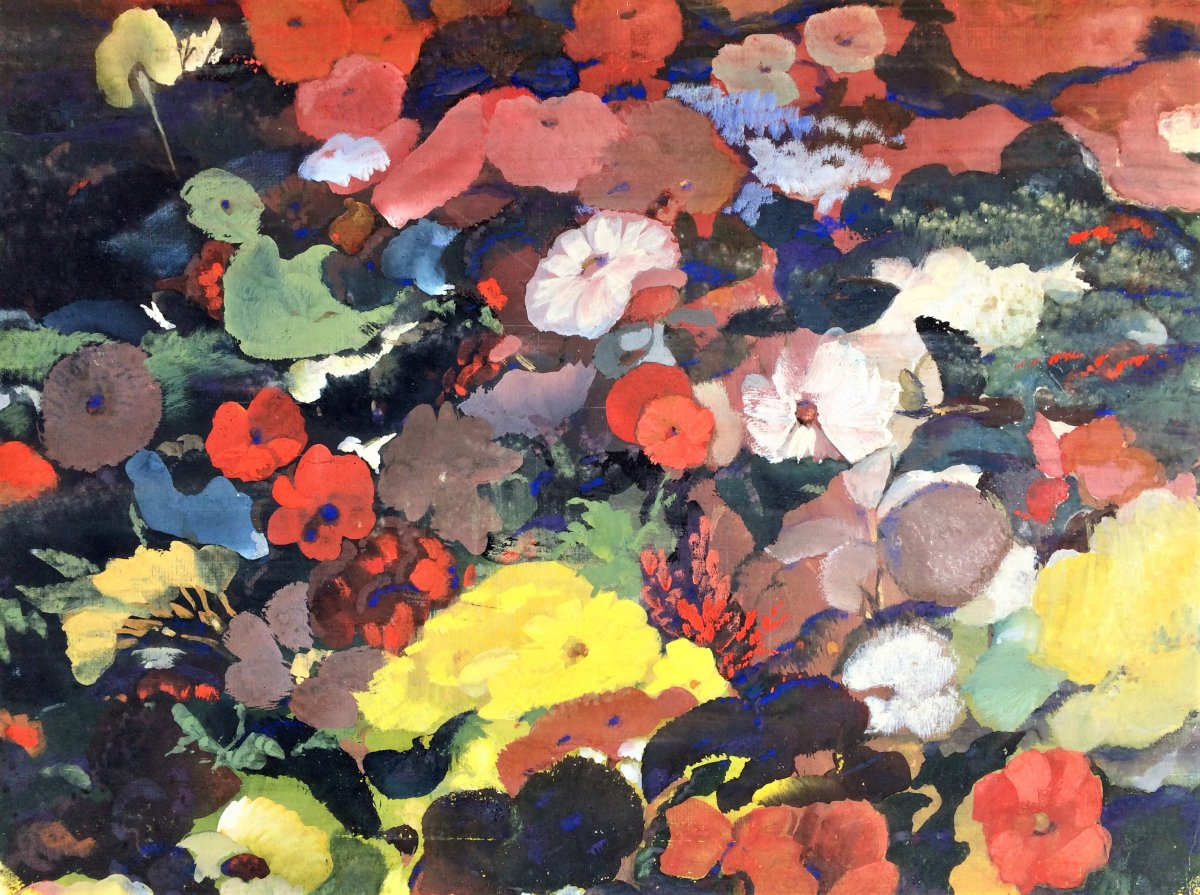 "Indian School. G.m. Solegaonkar. ""flowers"". Around 1950."