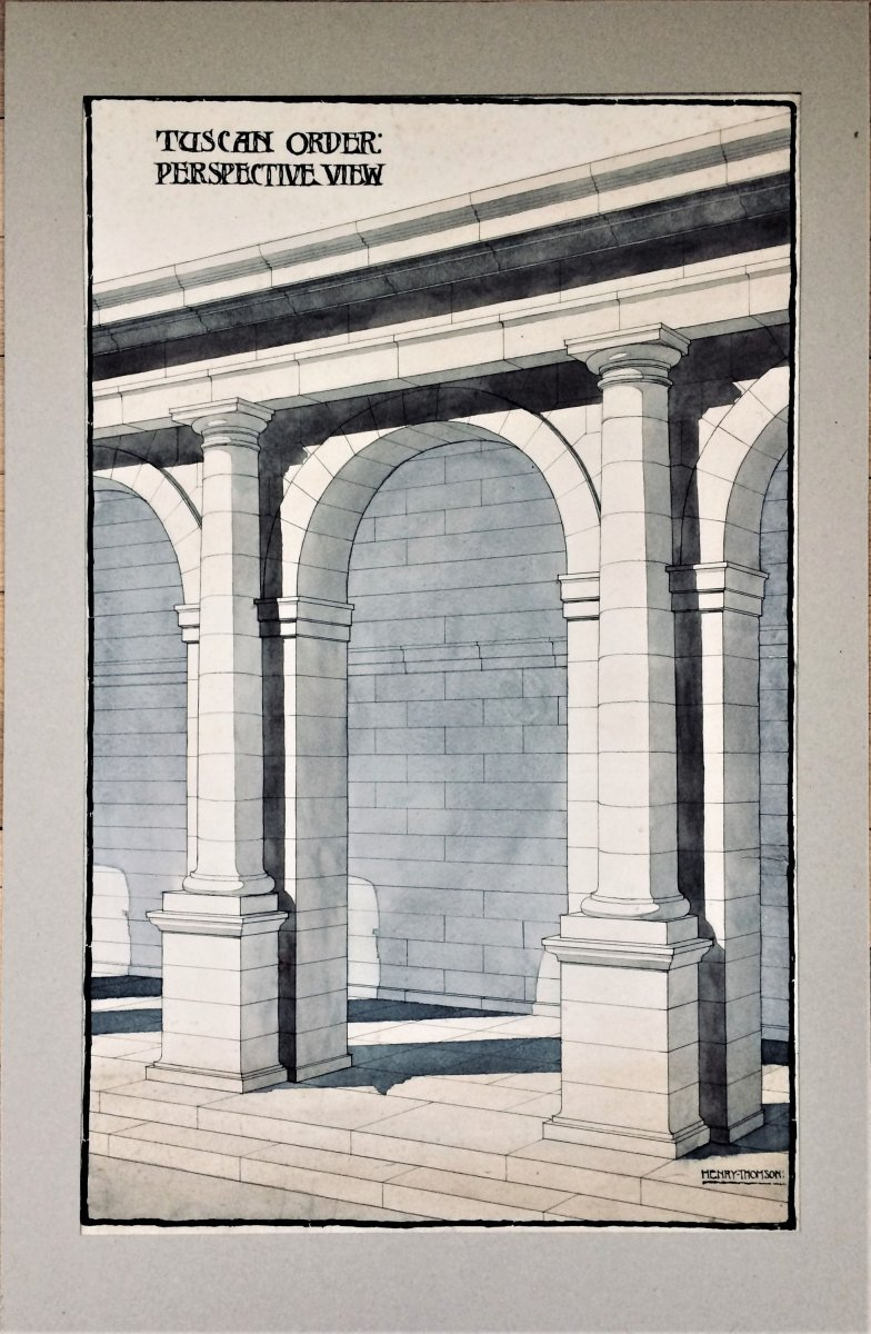 "Dessin d'architecture. Henry Thomson."" Ordre Toscan"". Vers 1900."