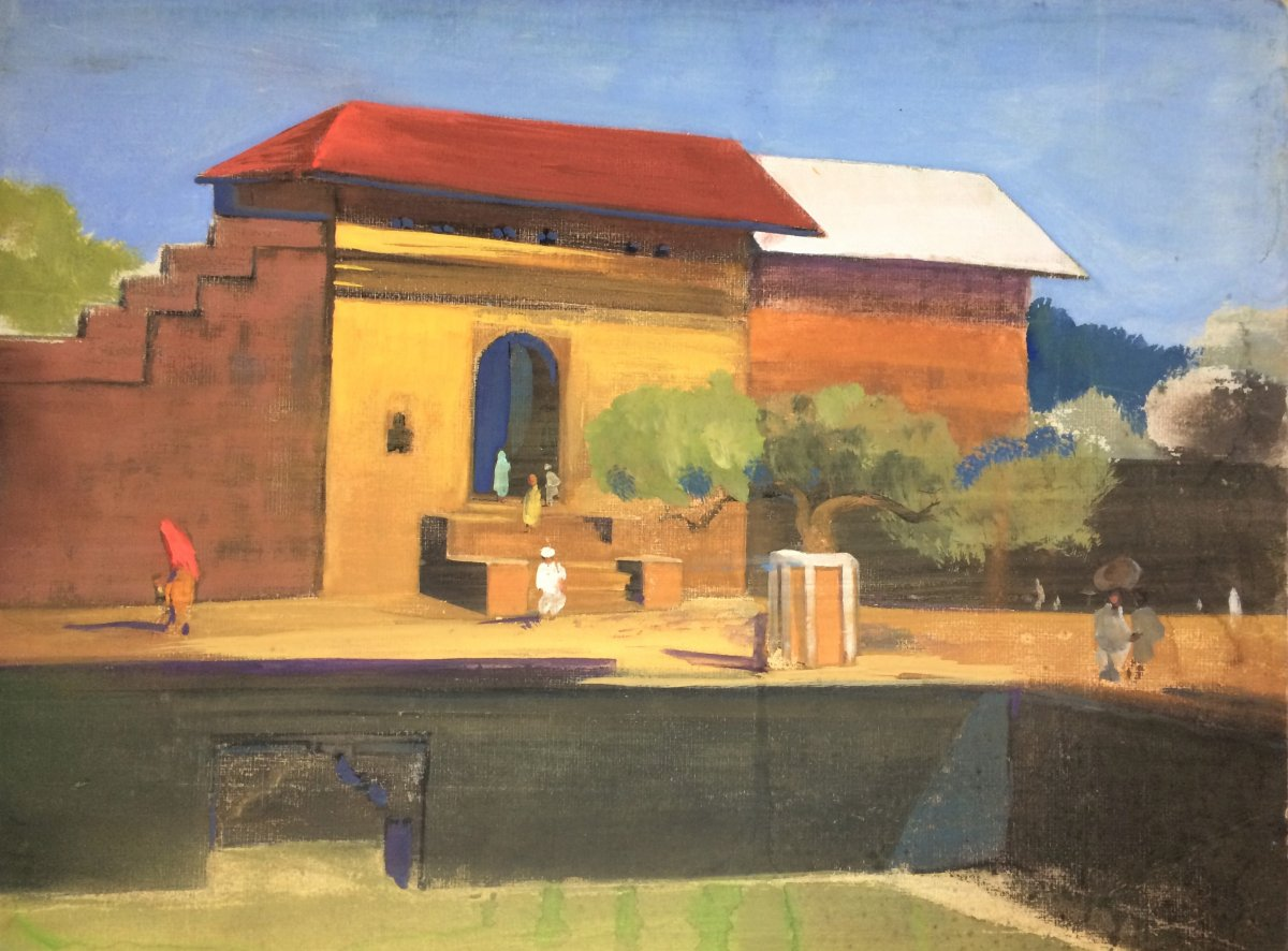 "Indian School. Govind Madhav Solegaonkar. (1912-1986). ""indian Village"". 30s."