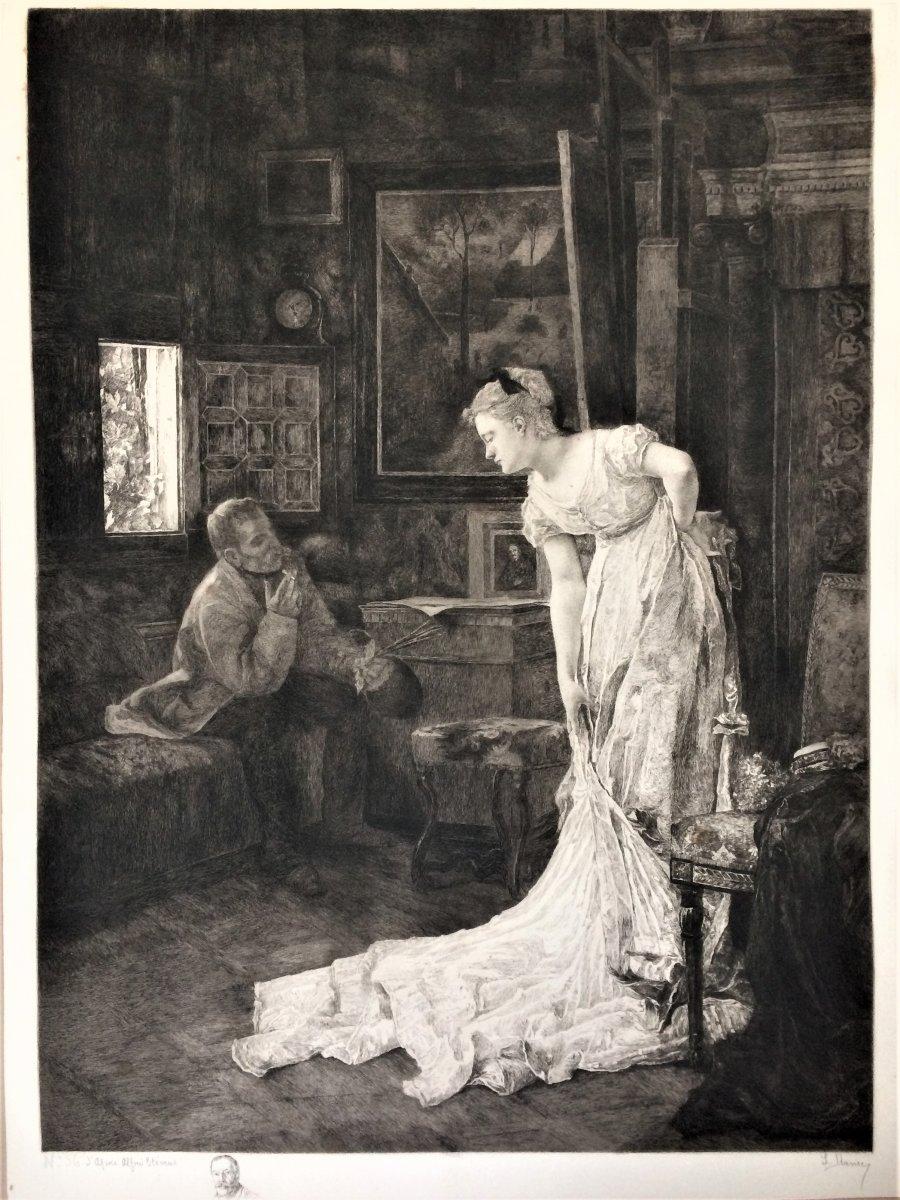 """Alfred Stevens. """"L'artiste et son modèle"""" ou """" L'atelier"""". Fin 19°. Gravé par Louise Danse."""