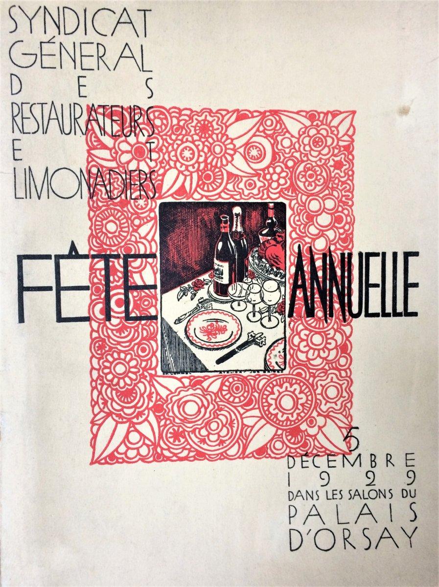 Joe Bridge. Programme du syndicat général des restaurateurs et limonadiers. 1929.