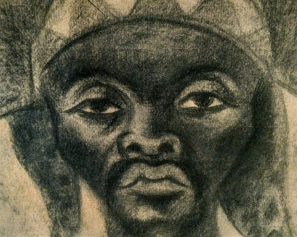 Maurice Van Essche. Dancer From The Luba Tribe (congo). 1940. Charcoal.