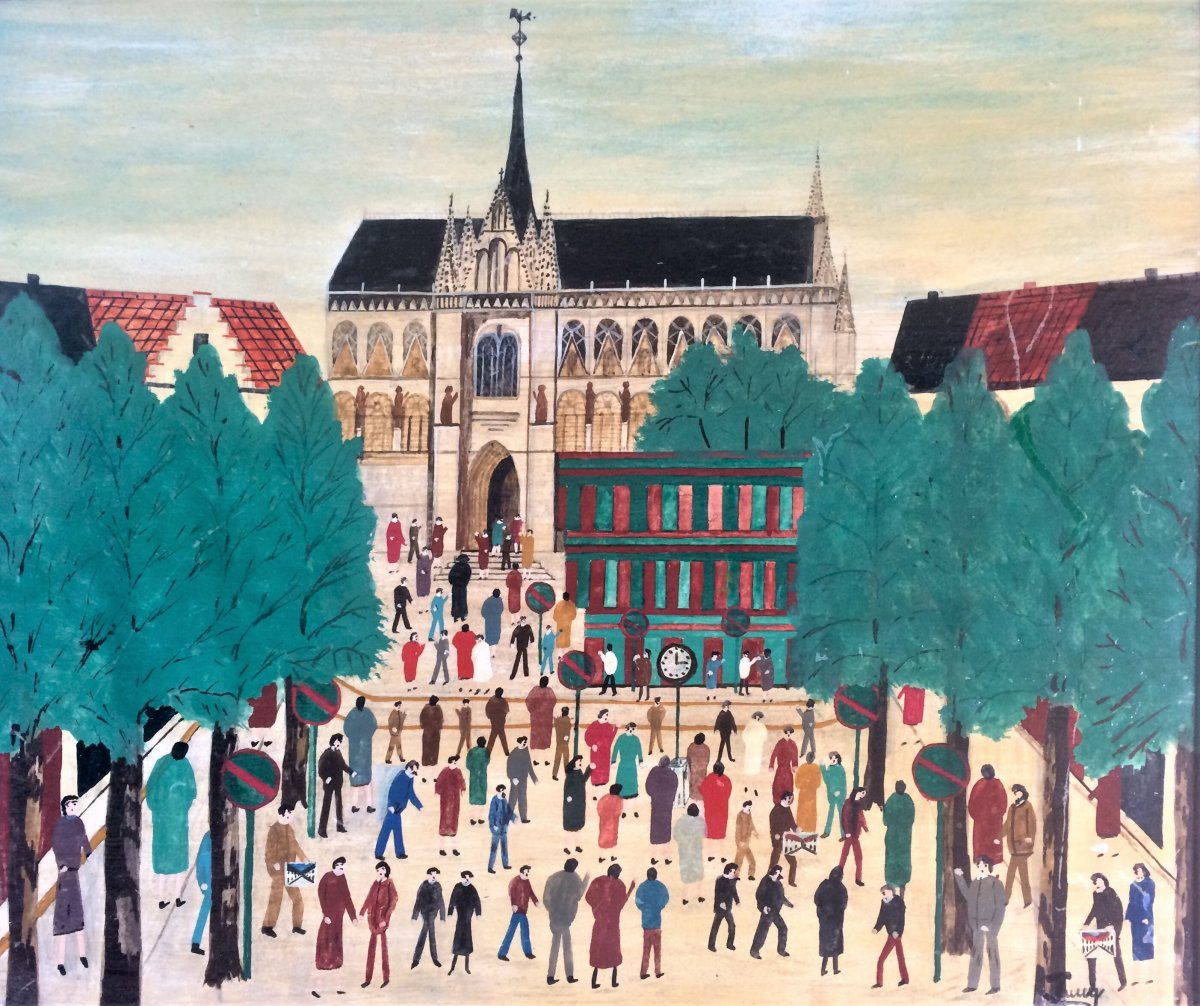"Jean Faucq. ""the Sablon Market"". 1972. (naive)."