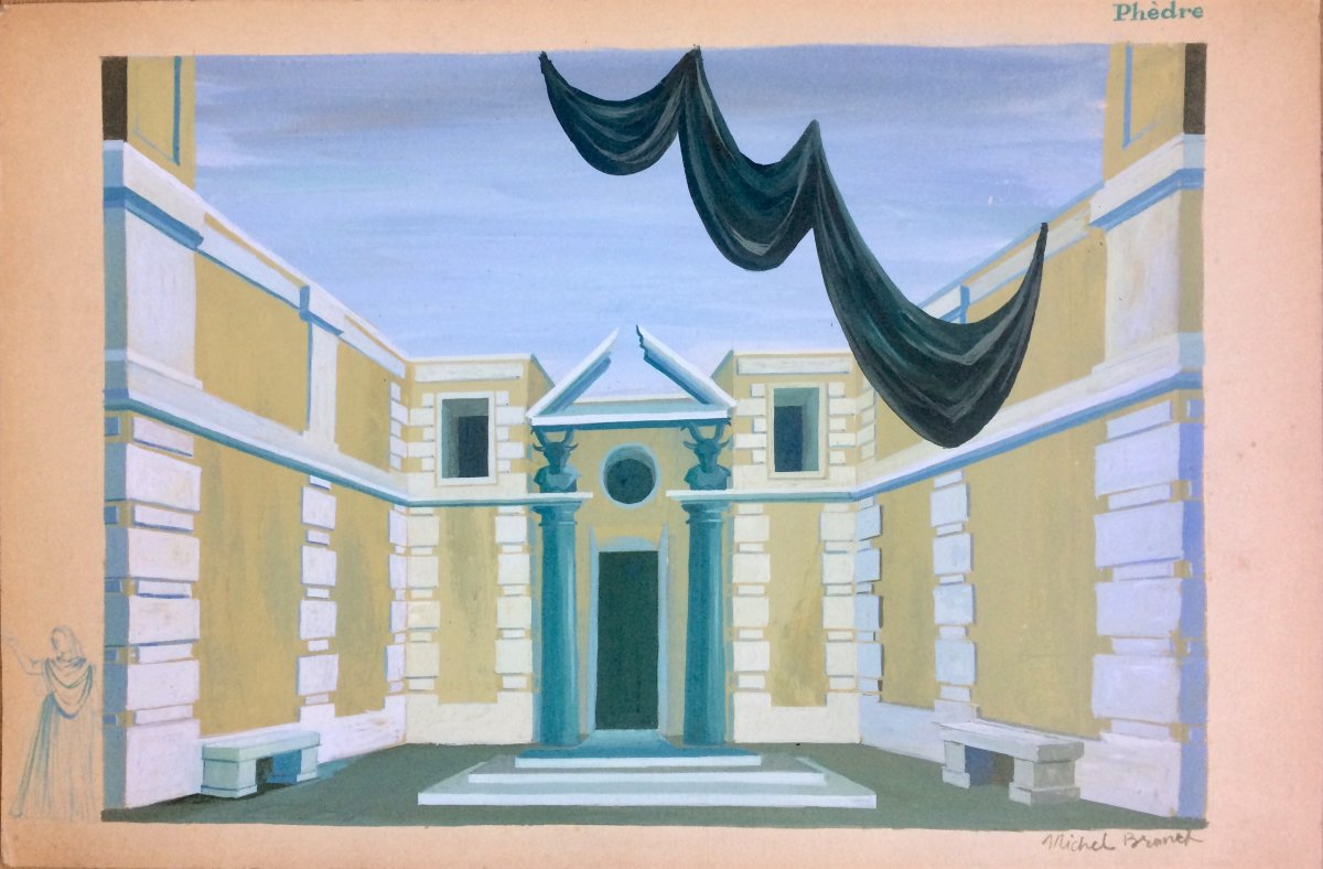 """Opera. Two Decor Projects. """"phèdre"""" By Jules Massenet By Michel Brunet. 1950s. Gouaches."""