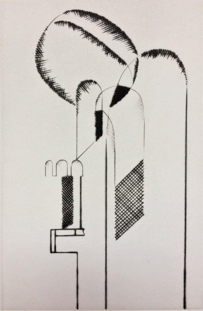 """Gaston Bertrand. """" Architecture"""". 1972. Pointe sèche. 87/100."""