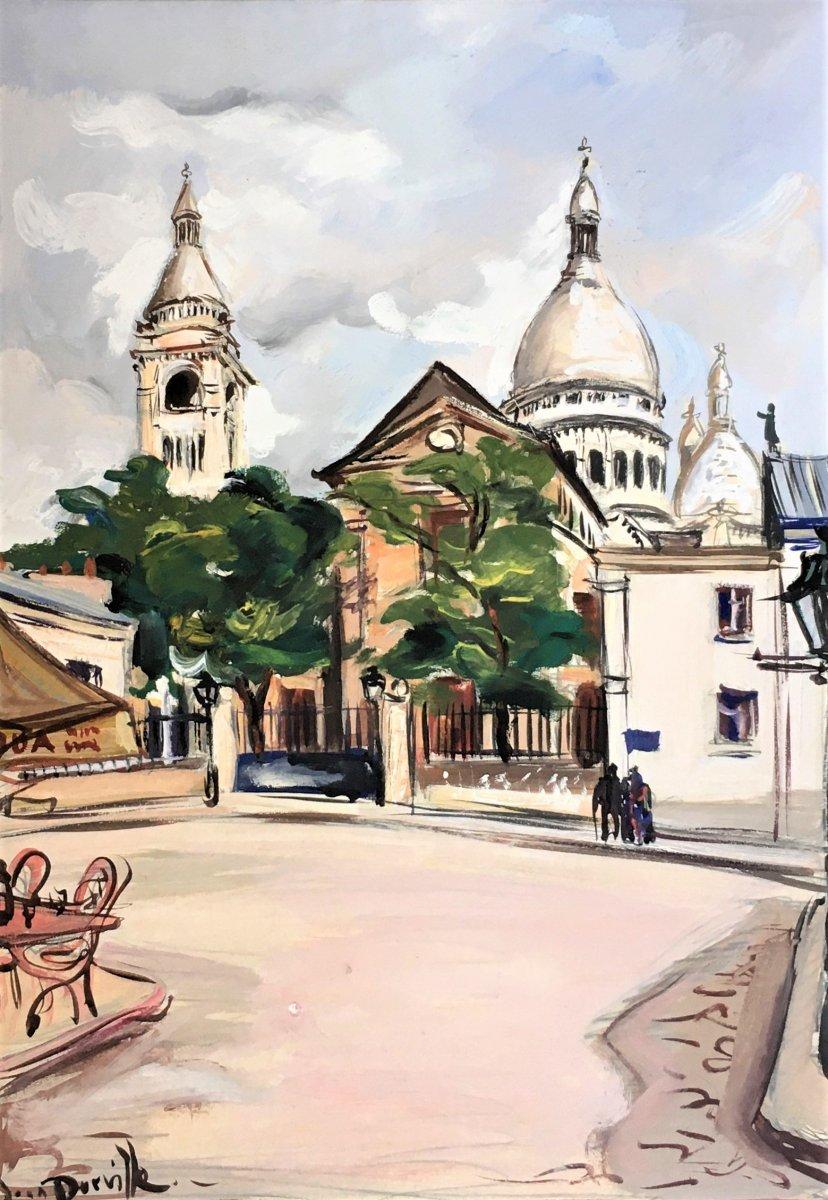 "Jean Dorville (1902-1985). ""view Of The Sacré-coeur, Montmartre"". Around 1940."