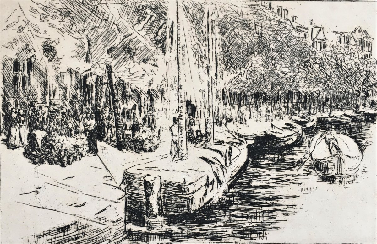 "Max Liebermann (1847-1935). ""canal In Amsterdam"". 1907. Etching."