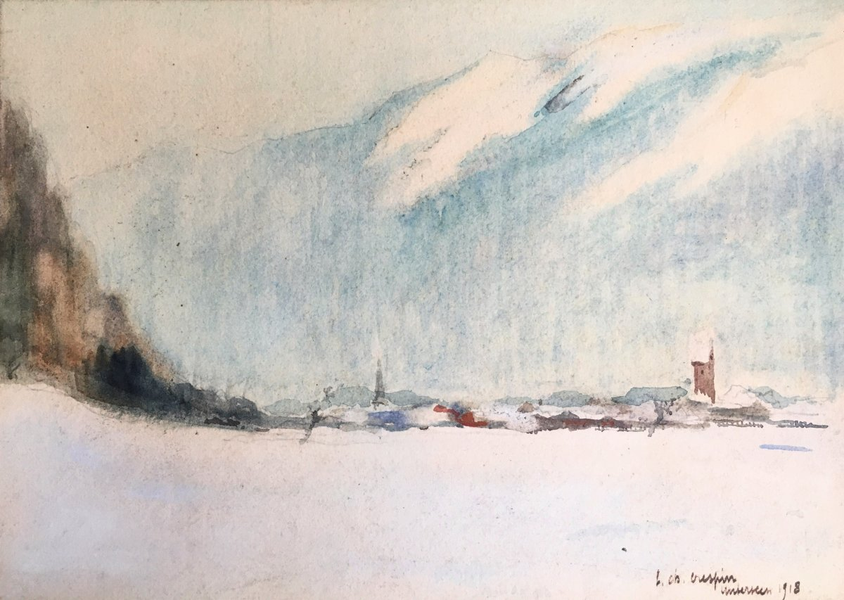 "Louis Charles Crespin (1892-1953). ""the Village Of Unterseen Under The Snow"". 1918."