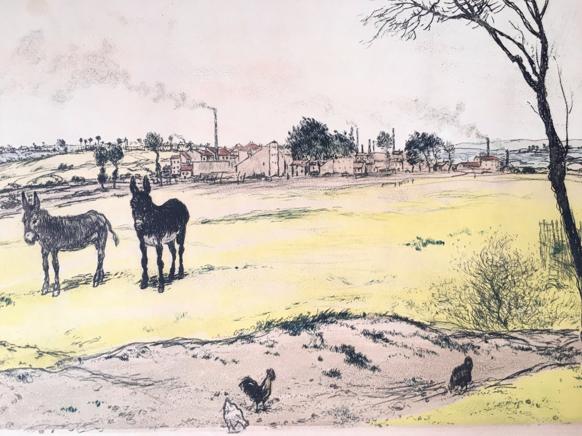 "Jean-françois Raffaelli (1850-1924). ""the Little Donkeys"". 1906. 4-color Aquatint.-photo-4"
