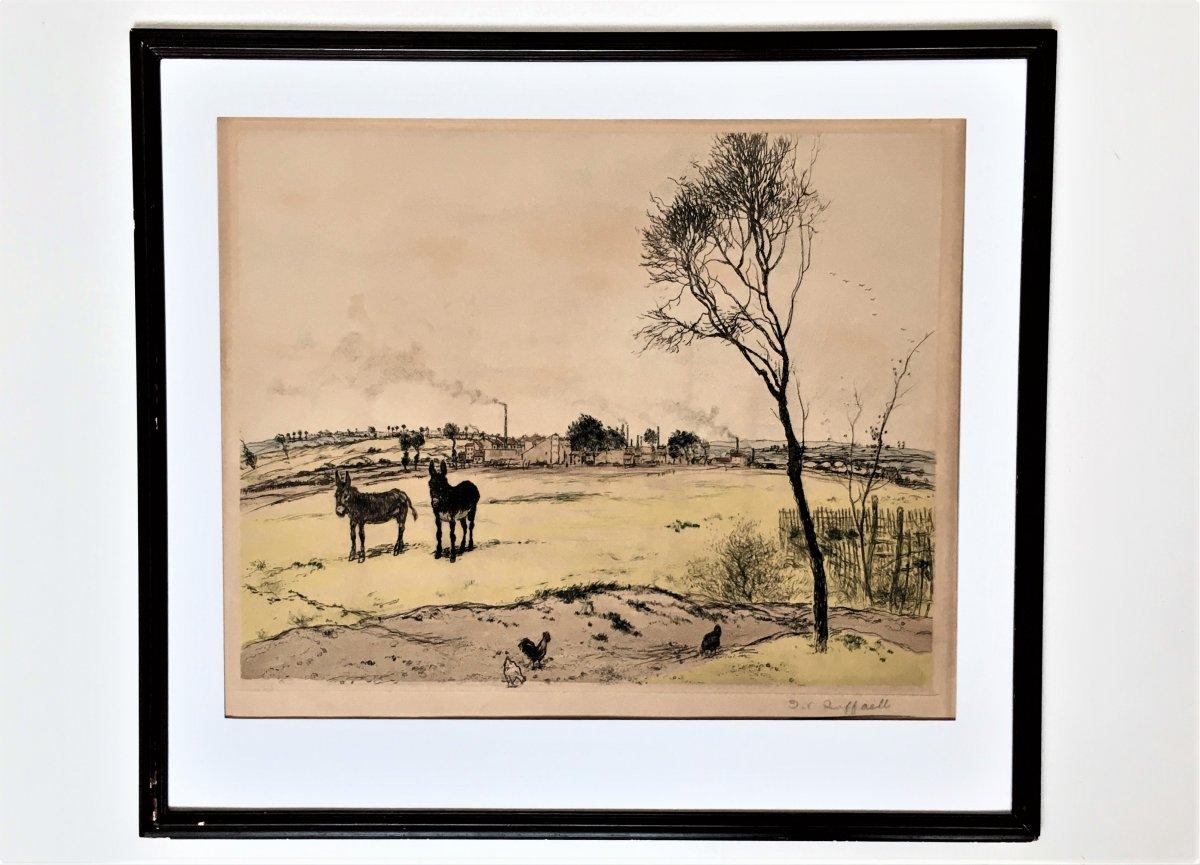 "Jean-françois Raffaelli (1850-1924). ""the Little Donkeys"". 1906. 4-color Aquatint.-photo-2"