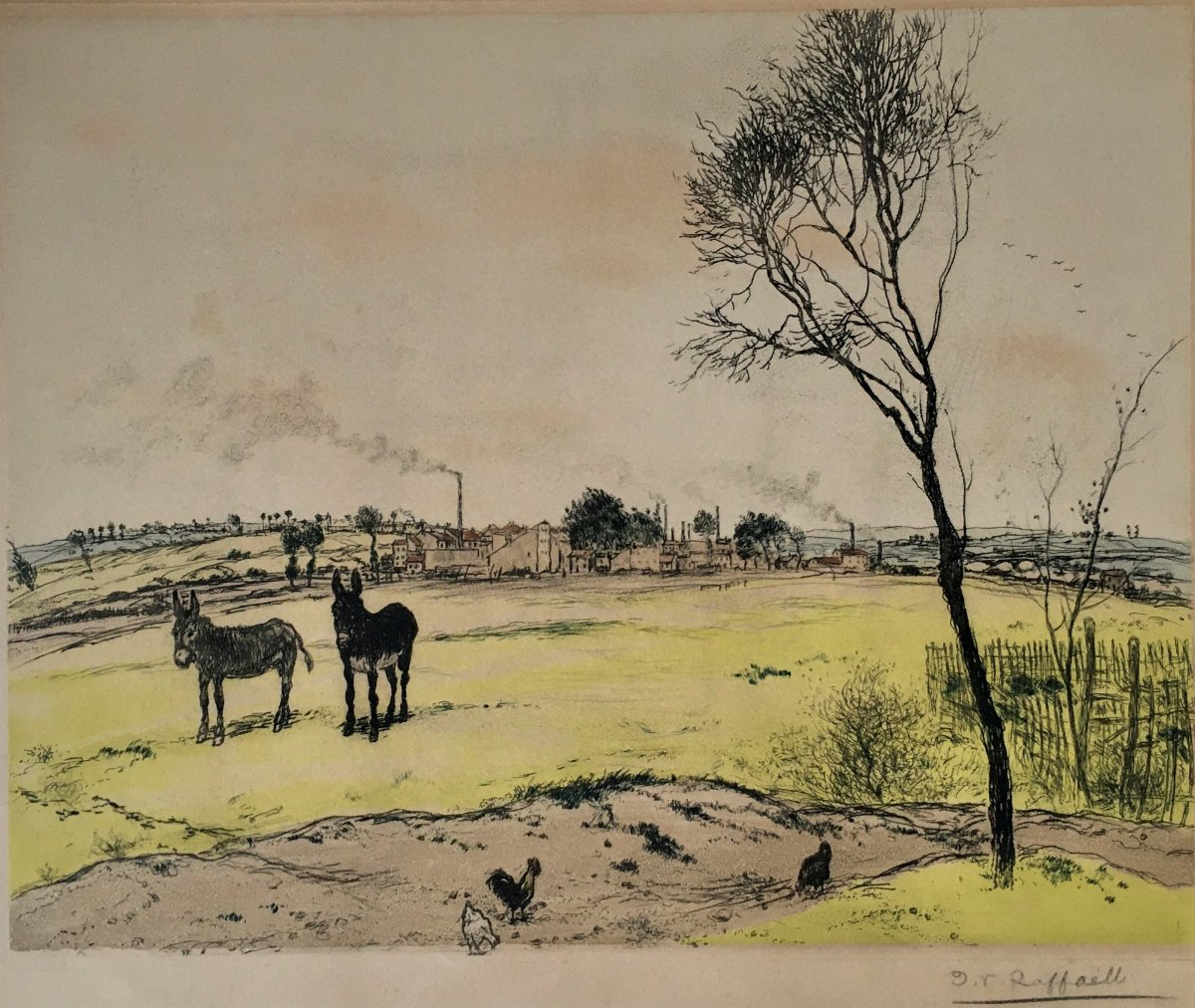 "Jean-françois Raffaelli (1850-1924). ""the Little Donkeys"". 1906. 4-color Aquatint."