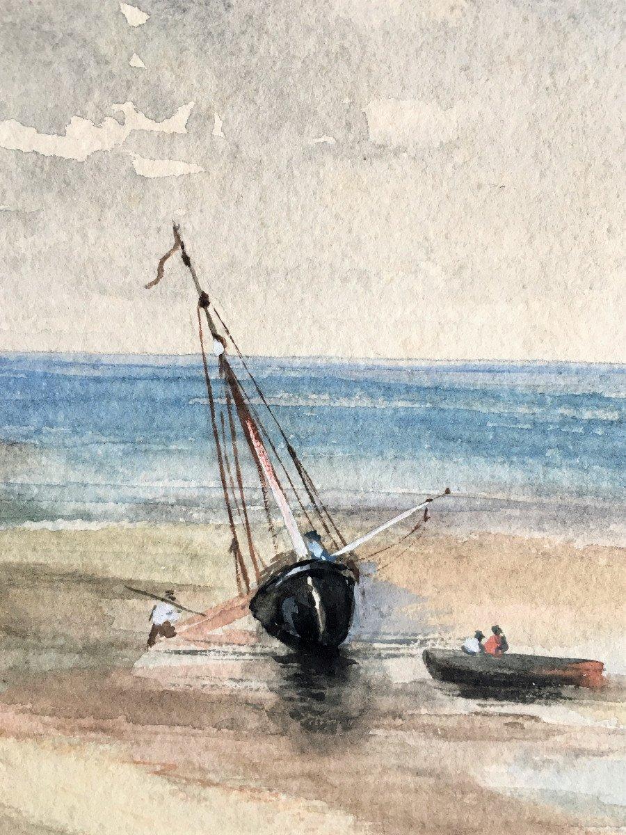 Marine normande XIX, dans le goût d' Eugène Isabey.-photo-4