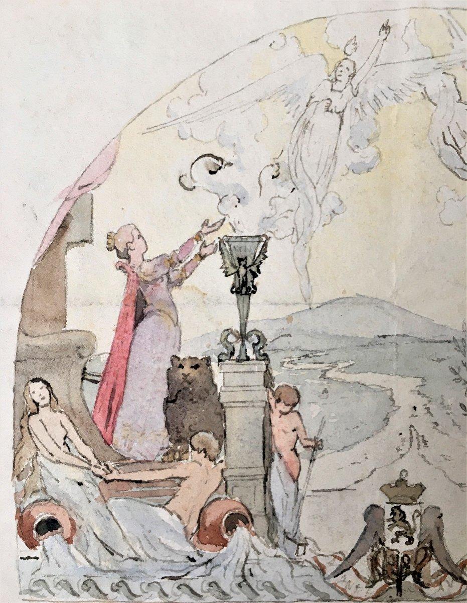 Allégorie du progrès. Ville de Lyon. Projet de fresque. Fin XIX.-photo-2