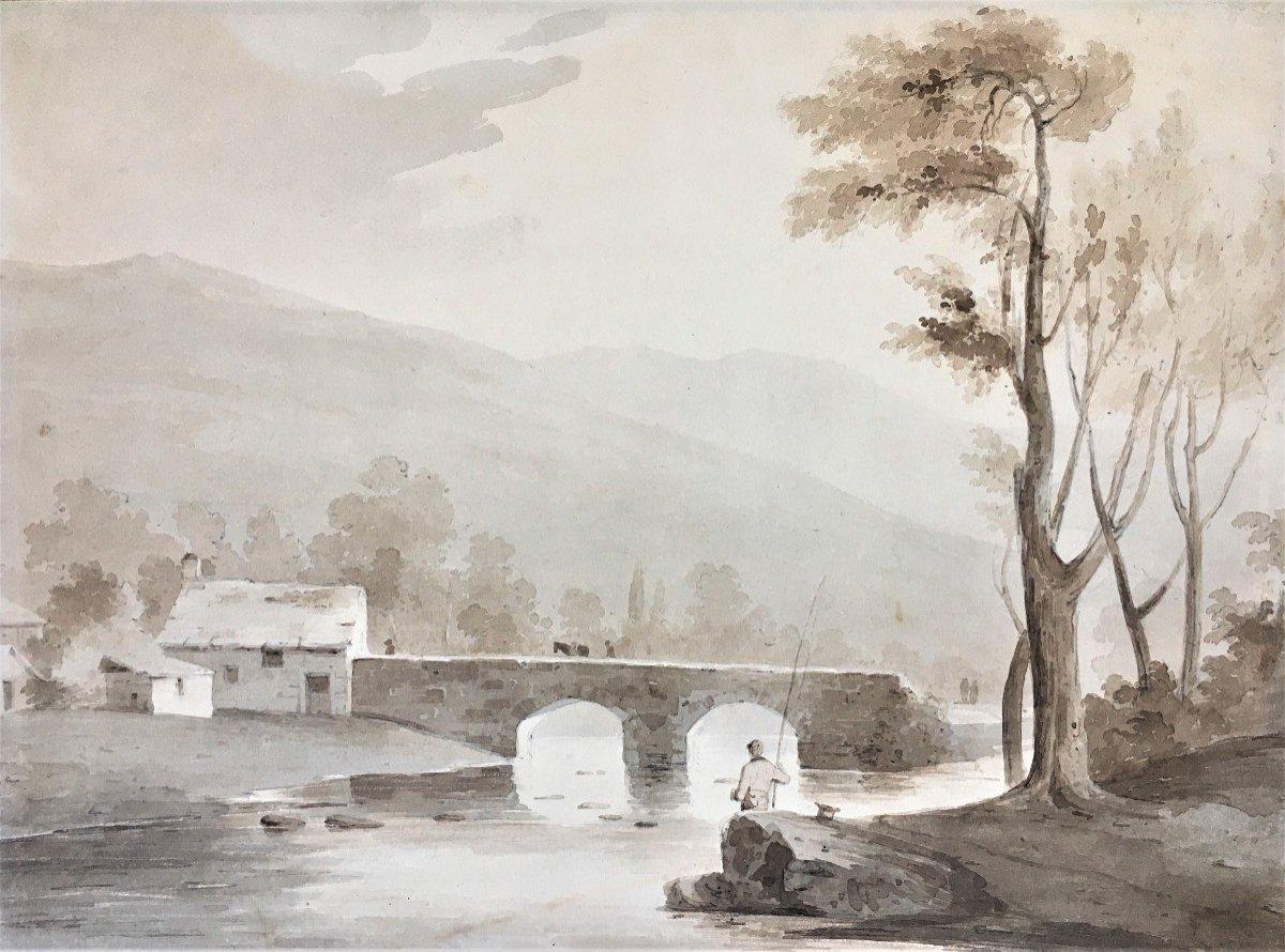 """Ecole anglaise. Samuel Jackson (Bristol,1794- Clifton 1869). """" Paysage au pêcheur"""". Aquarelle."""