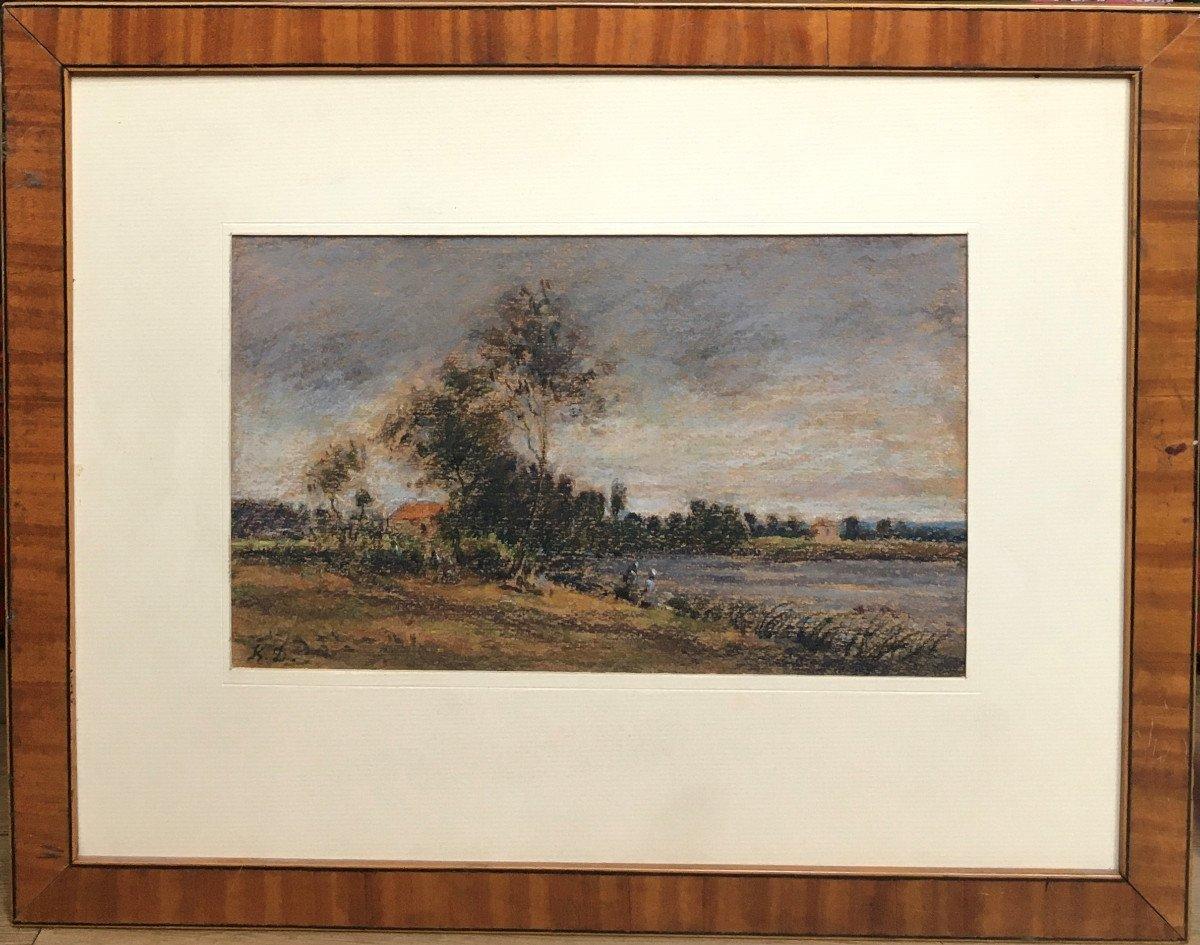 """Karl Daubigny (1846-1886). """" L'île de Vaux sur Oise"""". Pré-impressionnisme.-photo-2"""