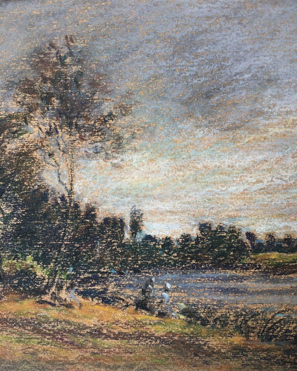 """Karl Daubigny (1846-1886). """" L'île de Vaux sur Oise"""". Pré-impressionnisme.-photo-3"""