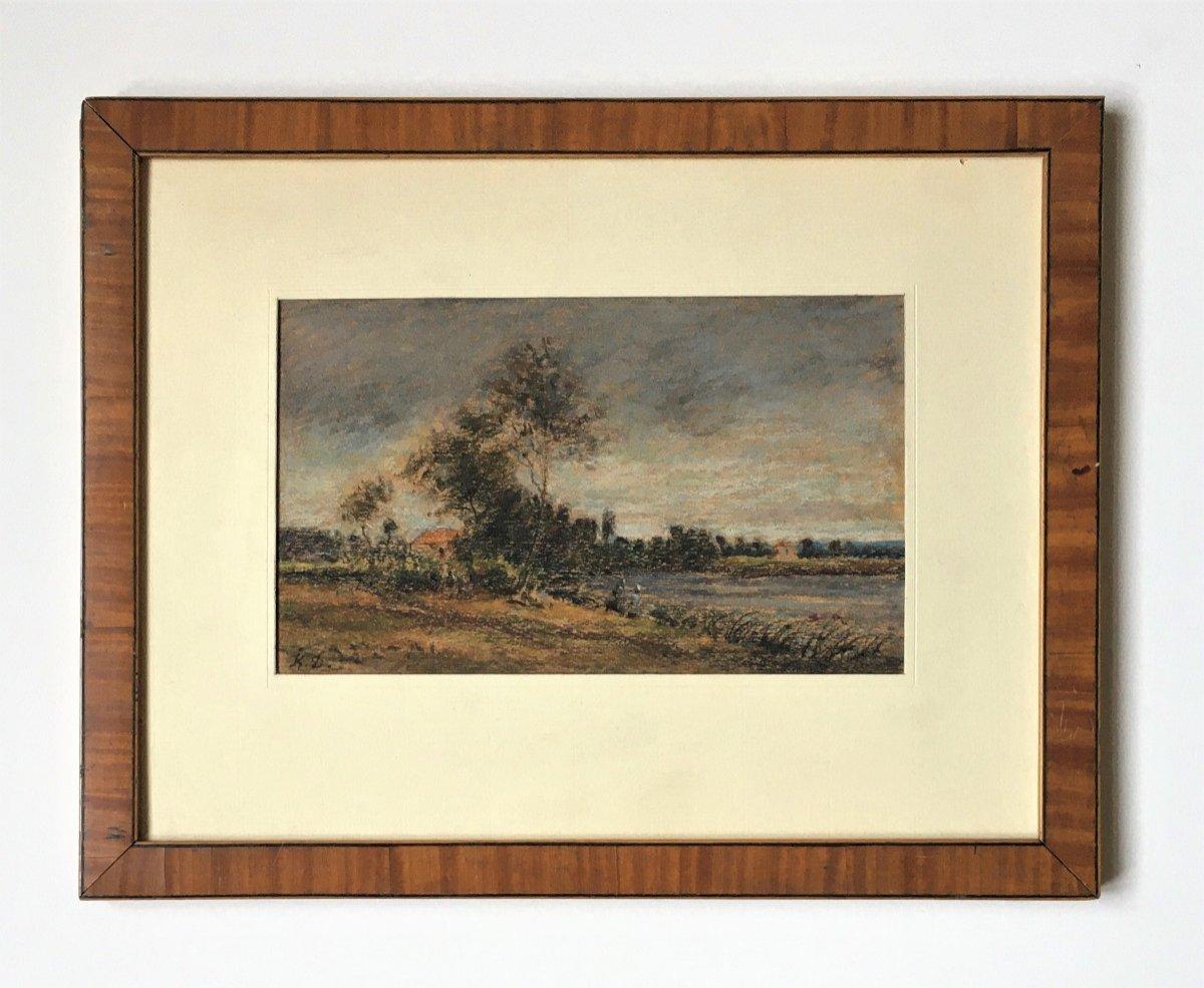 """Karl Daubigny (1846-1886). """" L'île de Vaux sur Oise"""". Pré-impressionnisme.-photo-4"""