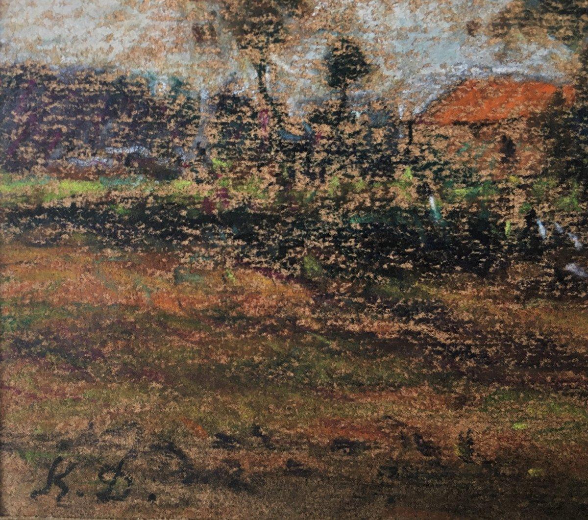 """Karl Daubigny (1846-1886). """" L'île de Vaux sur Oise"""". Pré-impressionnisme.-photo-1"""