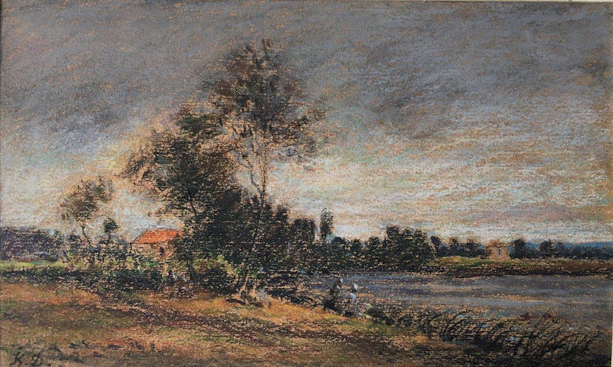 """Karl Daubigny (1846-1886). """" L'île de Vaux sur Oise"""". Pré-impressionnisme."""