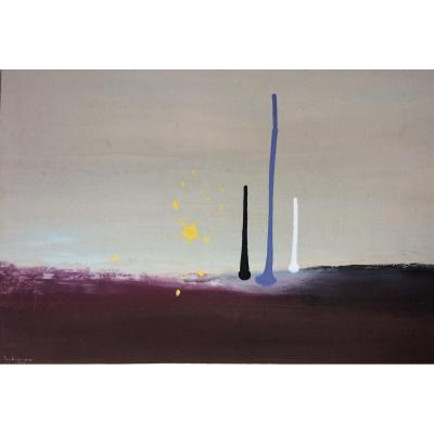 Abstraction. Enrique Todaro. Ecole Chilienne. Gouache. 1961.