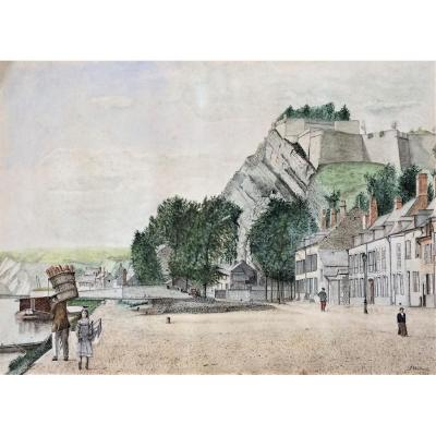 "Naïf. Aquarelle. ""Bord de Meuse"". 1925. Signé Wahart."