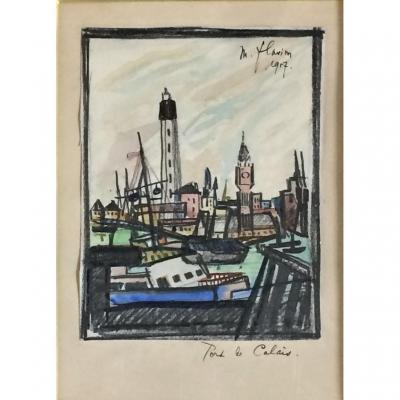 Port de Calais. Maurice Flavion. 1957. Aquarelle.