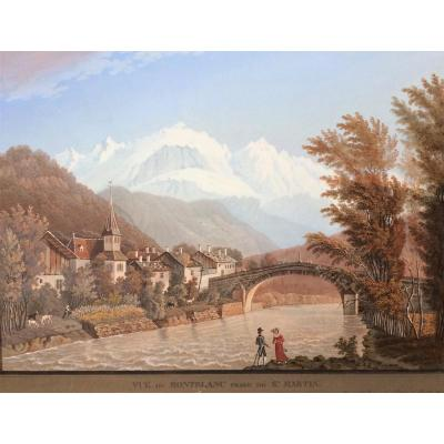 View Of Mont Blanc From St Martin. Gouache Aquatint. Around 1800. Samuel Grundman.