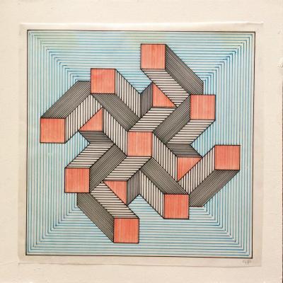 Art Abstrait. Cinétique. Guy Pouppez. Encres. Années 60.
