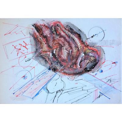 Abstract Art. Amilcare Rambelli. 1968. Italian School. Technique Mixte.
