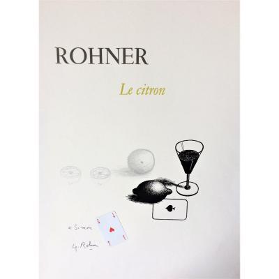 """Georges Rohner. Technique mixte.  """" Citron et cartes à jouer"""". Vers 1970."""