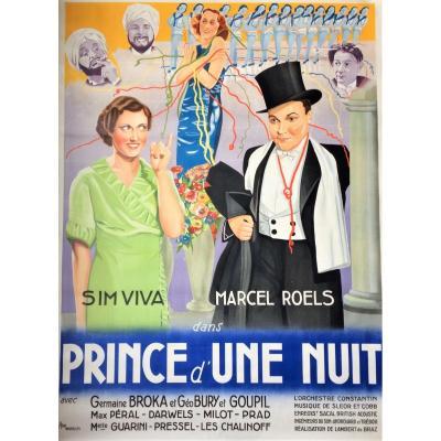 """Grande affiche cinéma belge. 1936. """"Prince d'une nuit""""."""
