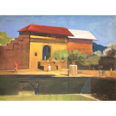 "Indian School. Govind Madhav Solegaonkar. (1912-1986). ""indian Village"". 30s."