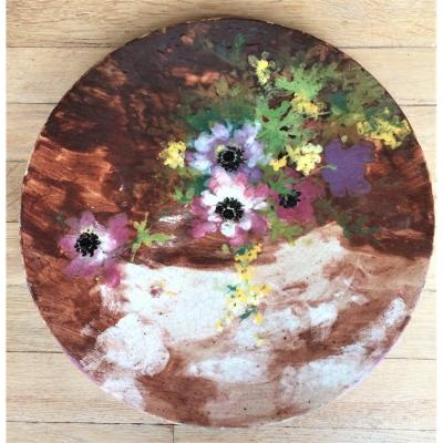 Impressionist Ceramics. Dish With Anemones And Yellow Flowers. Slip Painting. End Of 19 °
