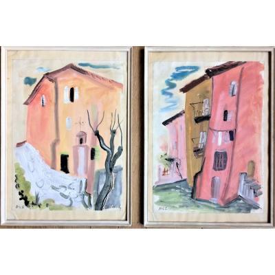"""Ecole russe. Anna Staritsky """"Nice"""". Paire de gouaches.  Années 1945- 1950."""
