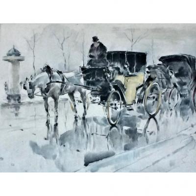 """""""Fiacre à Paris devant une colonne Morris."""" Aquatinte. Fin 19°.  Frank Hugh Wagner."""