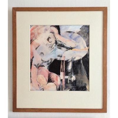 """Jan Wellens. """" Femme nue enlacée"""". 1968. Aquarelle et encre de chine."""