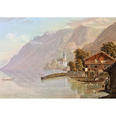 """Samuel Grundman. """"Vue du lac et du village de Brienz"""". (Canton de Berne). aquatinte gouachée."""
