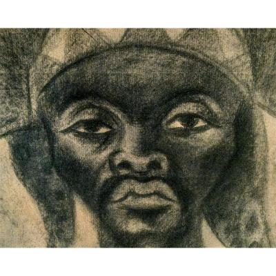 Maurice Van Essche. Danseur de la tribu des Luba (Congo). 1940. Fusain.
