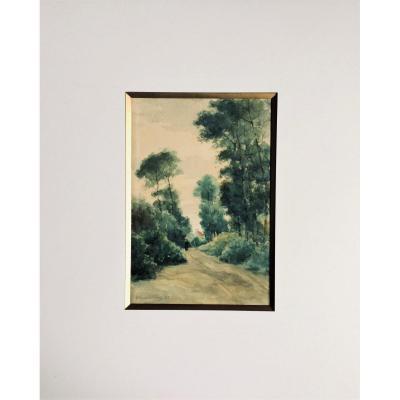 """Emile Berchmans. 1883.  Deux aquarelles. """" Paysage animé et nature morte aux roses blanches""""."""