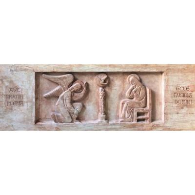 "Fernand Debonnaires. Bas-relief. ""the Annunciation"". Original Plaster. 1930s."