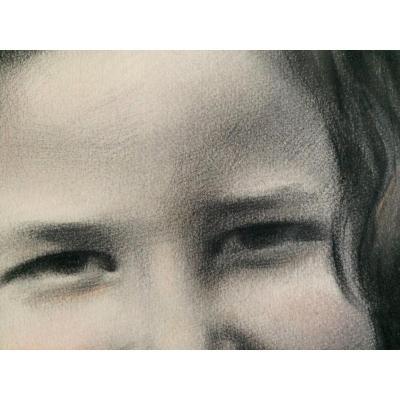 """Jean Winance. """"Portrait d'enfant"""". 1936. Pastel et fusain."""