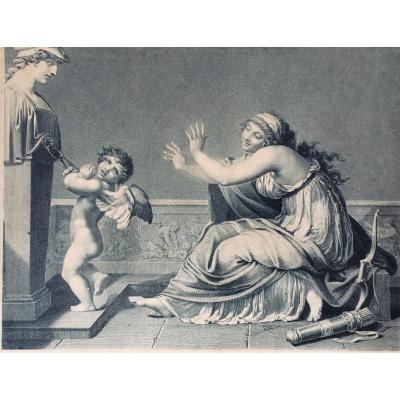 """Pierre-Paul Prud'hon & Jacques -Louis Copia.  """"L'Amour réduit à la raison"""". 1793. Gravure"""