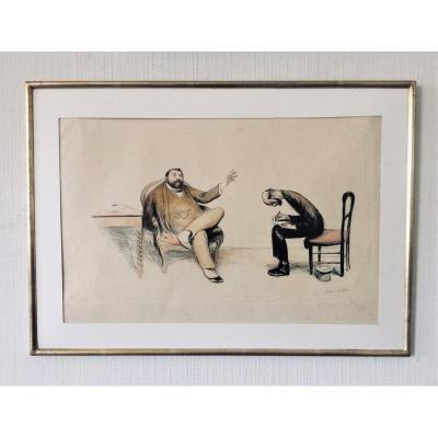 "Jean Veber. Gravure  satirique . "" l'interview "".  1907. Tirage 28/60."