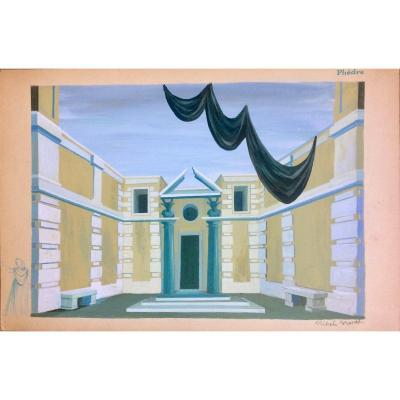 "Opera. Two Decor Projects. ""phèdre"" By Jules Massenet By Michel Brunet. 1950s. Gouaches."
