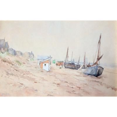 """Edouard Elle (1859-1911).""""Bateaux en bord de plage"""". 19°."""