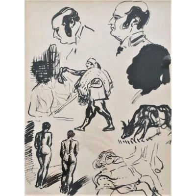 """Georges Lemmen. Dessin à l'encre de chine """" Etudes de nus, visages, marchand de tapis"""".1897."""