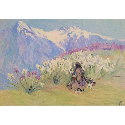 English School. &quot;Himalayas, picking irises&quot;. Impressionism.<br /> Louis XV style frame in gilded wood. Small losses. Golden master key.<br /> Provenance Vicars Brothers 12 old bond street. London (see label on the back).<br /> Known art dealers from 1907 to 1932 at this address.<br /> Monogram to be defined.<br /> Great quality and rare subject.<br /> Dimensions of the frame 50 x 60 cm, without frame 25 x 35 cm.