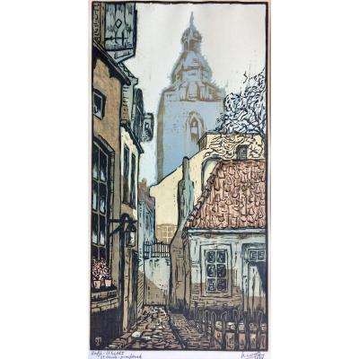 """Jacob Mooij (1889-1938). """" Quartier d'Utrecht"""". 1924. Gravure en couleur sur bois."""